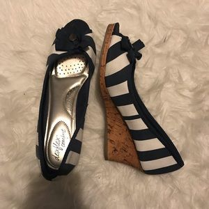 Navy/White Summer Wedges